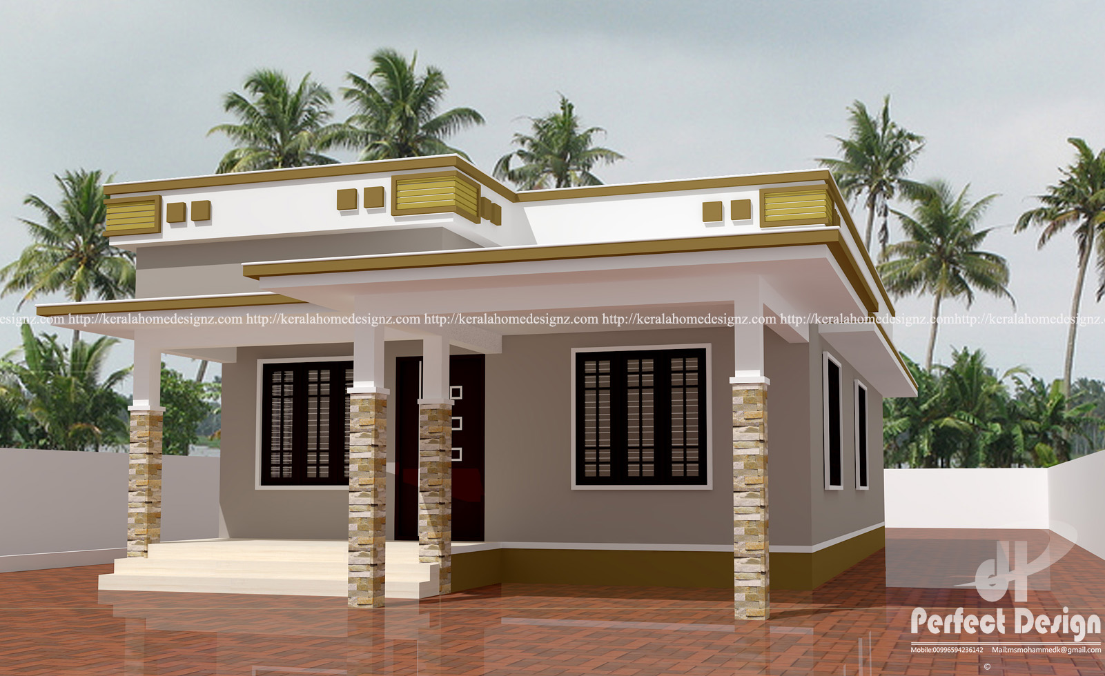 Simple contemporary home design kerala home design for Modern house designs 2017