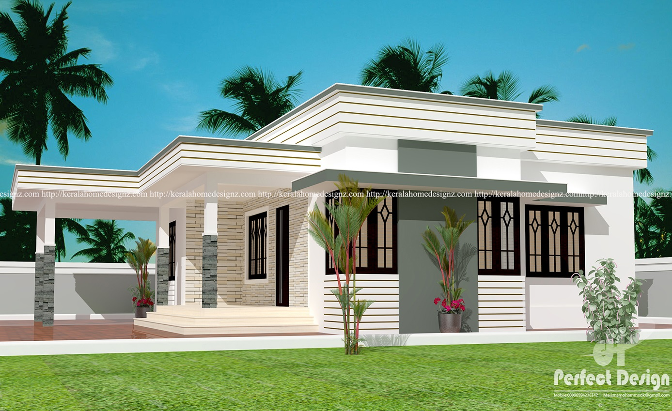 Simple single floor house design kerala home design for Simple one level house plans