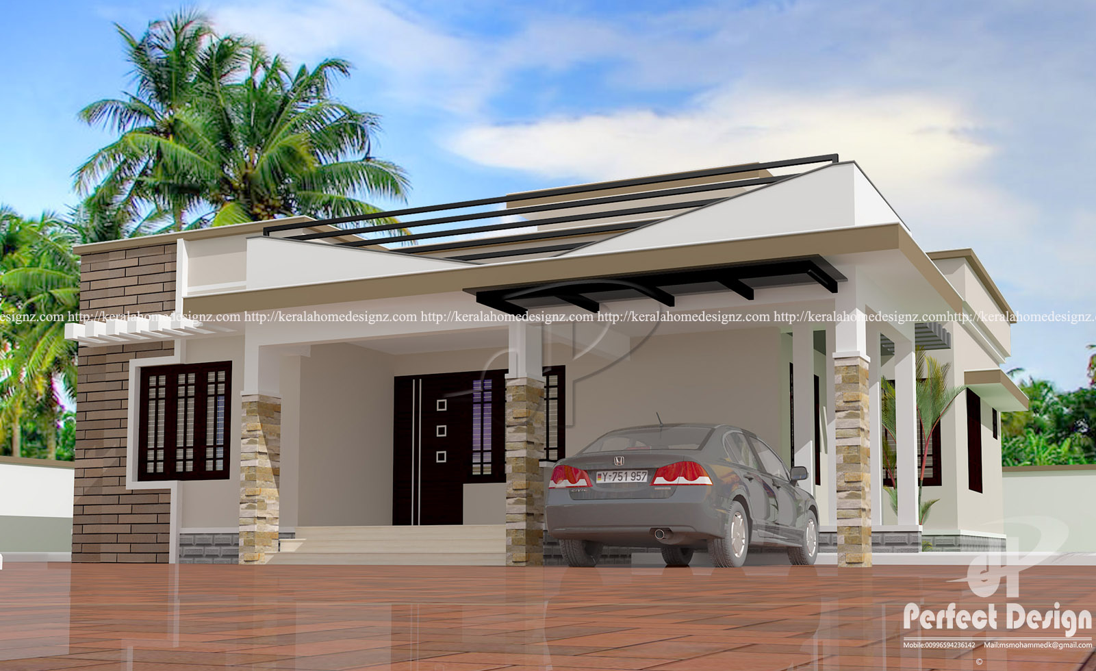 Modern single floor home kerala home design for Single floor contemporary house