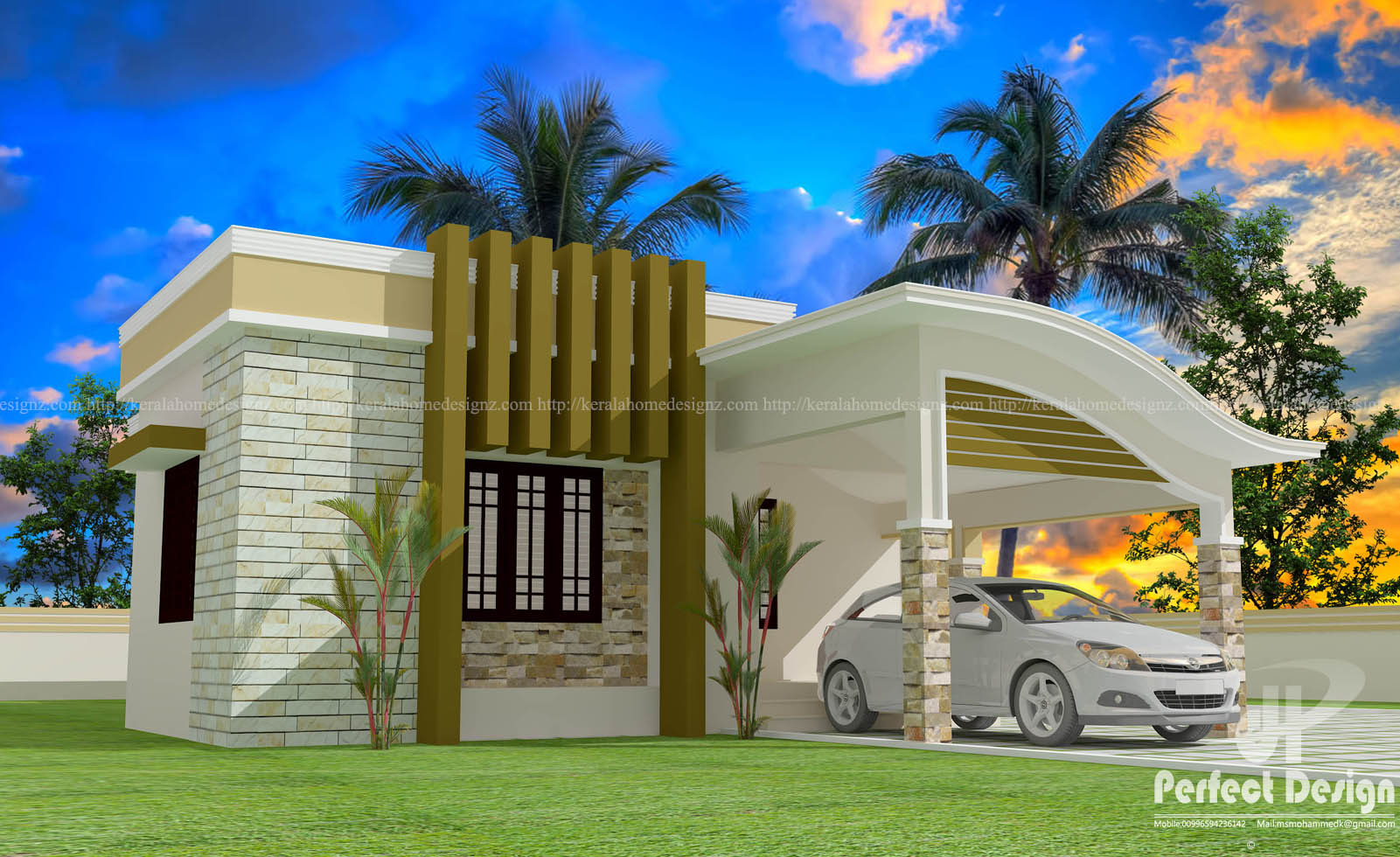 1129 Sq Ft Single Floor Home Part - 47: 1001 SQ.FT MODERN KERALA HOME