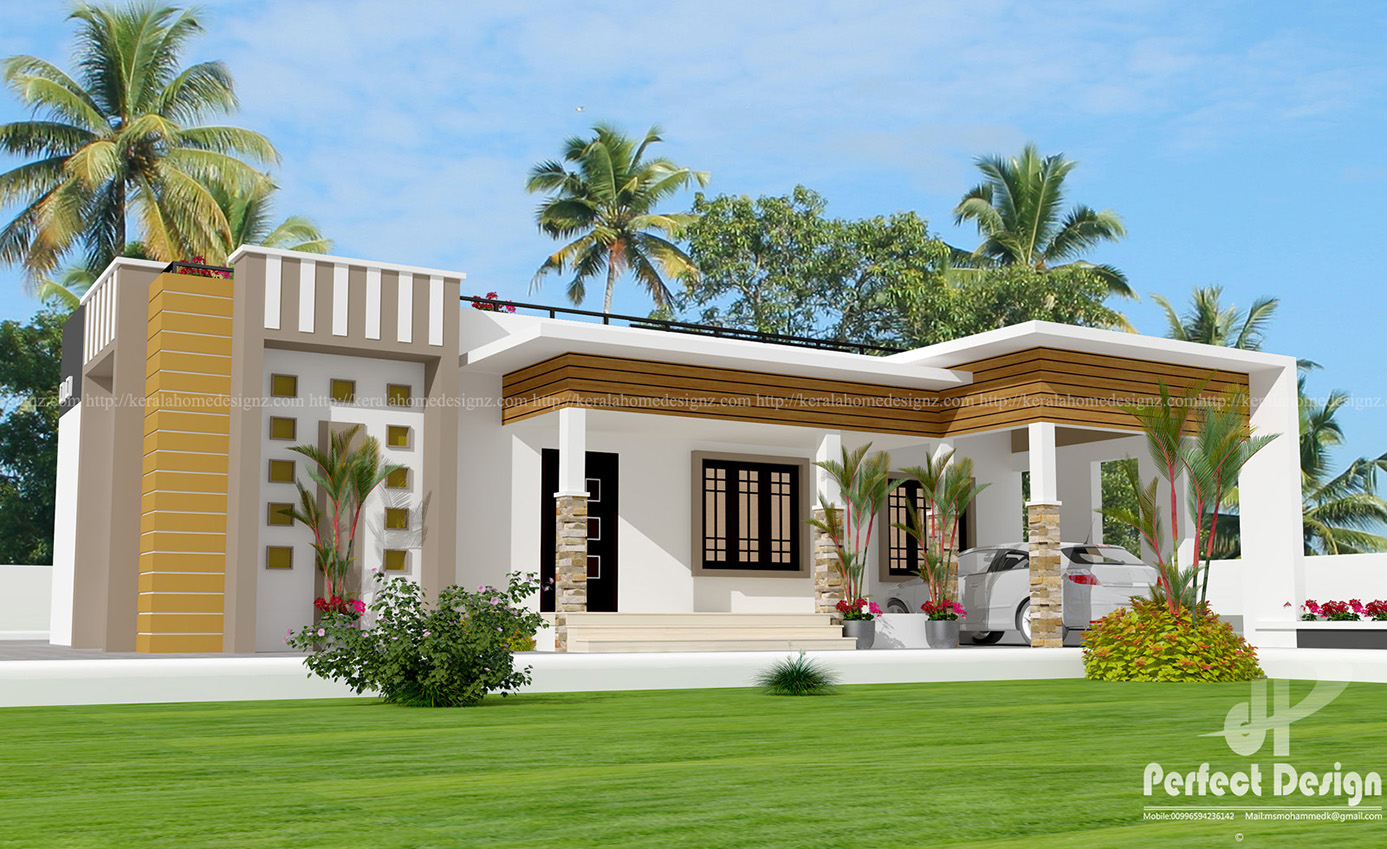 3bhk single floor home kerala home design for Single floor house