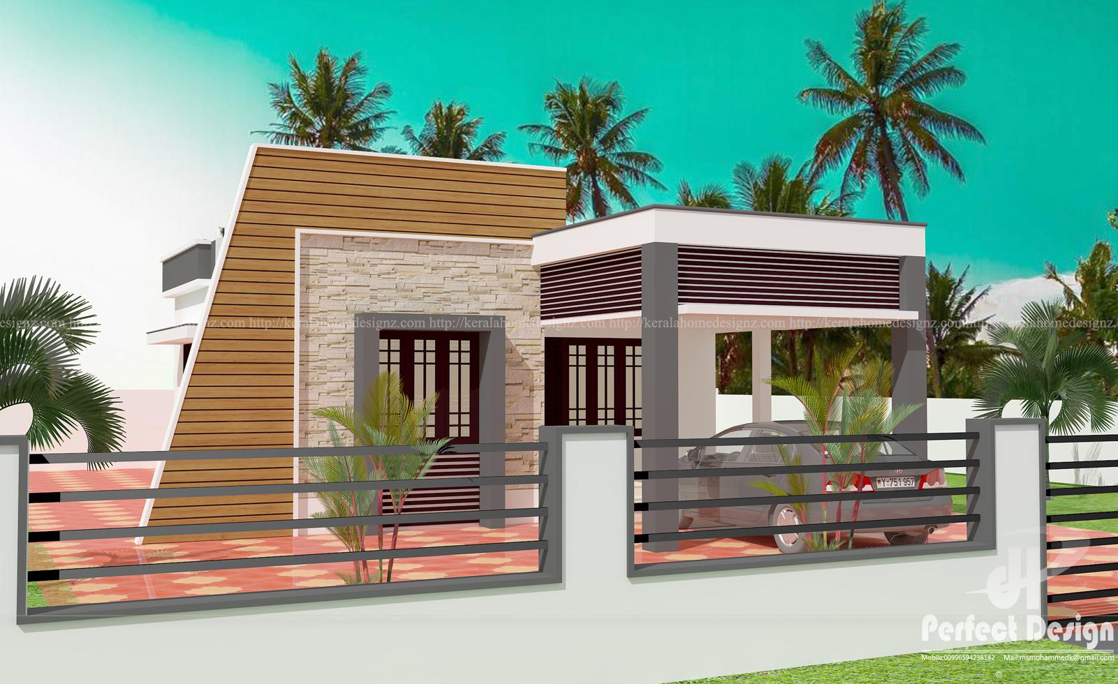 Small modern single floor home kerala home design for Single floor modern house