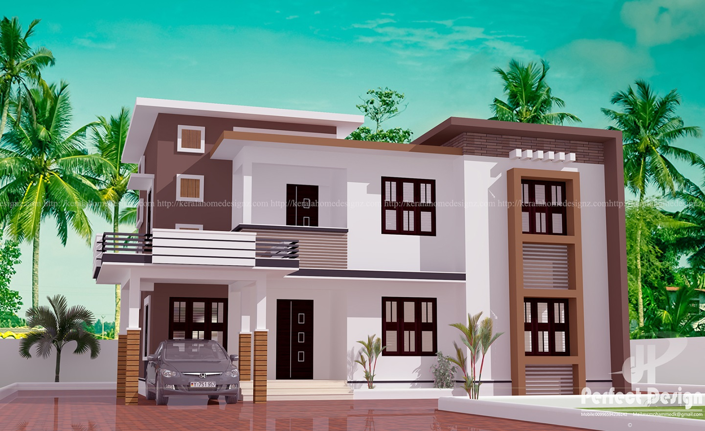 Contemporary 2 story kerala home design kerala home design for Two floor house plans in kerala