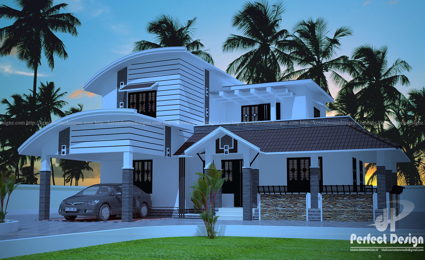 Curved roof house design kerala home design for Curved roof house designs