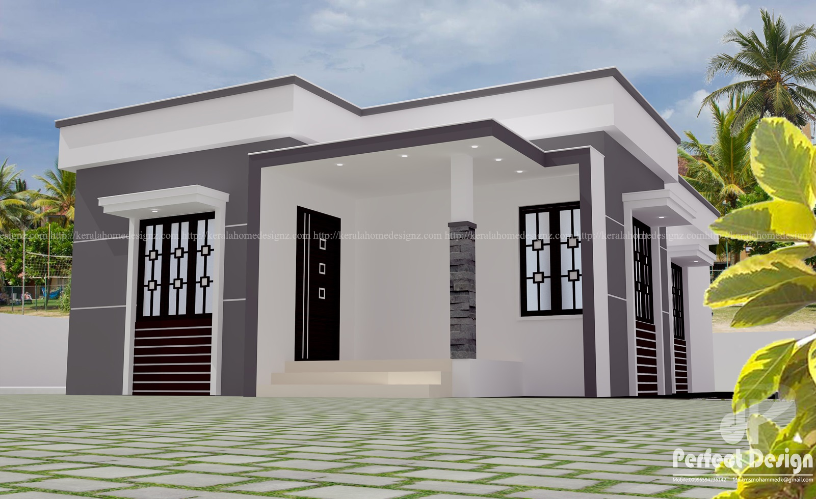 This contemporary style home plan is designed to be built in 968 square feet 90 square meter this house have sitout2 bedroom attached bath living