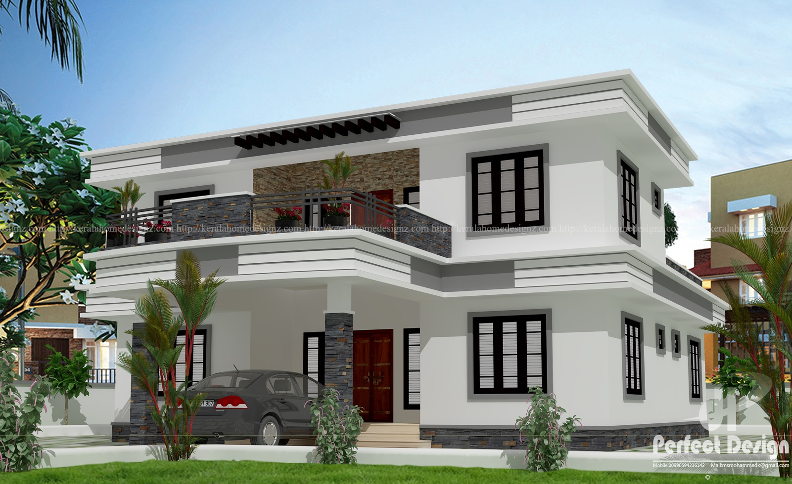 Beautiful modern contemporary 4 bhk home kerala home design for Beautiful modern home designs
