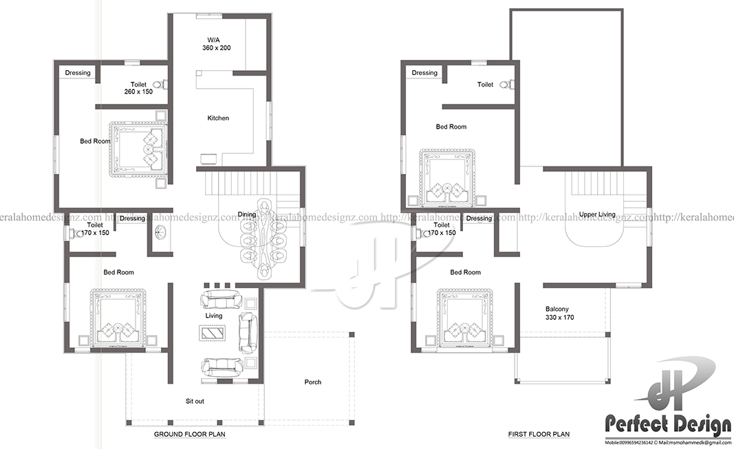 Beautiful double floor house in calicut kerala home design for 150 sq meter floor plan