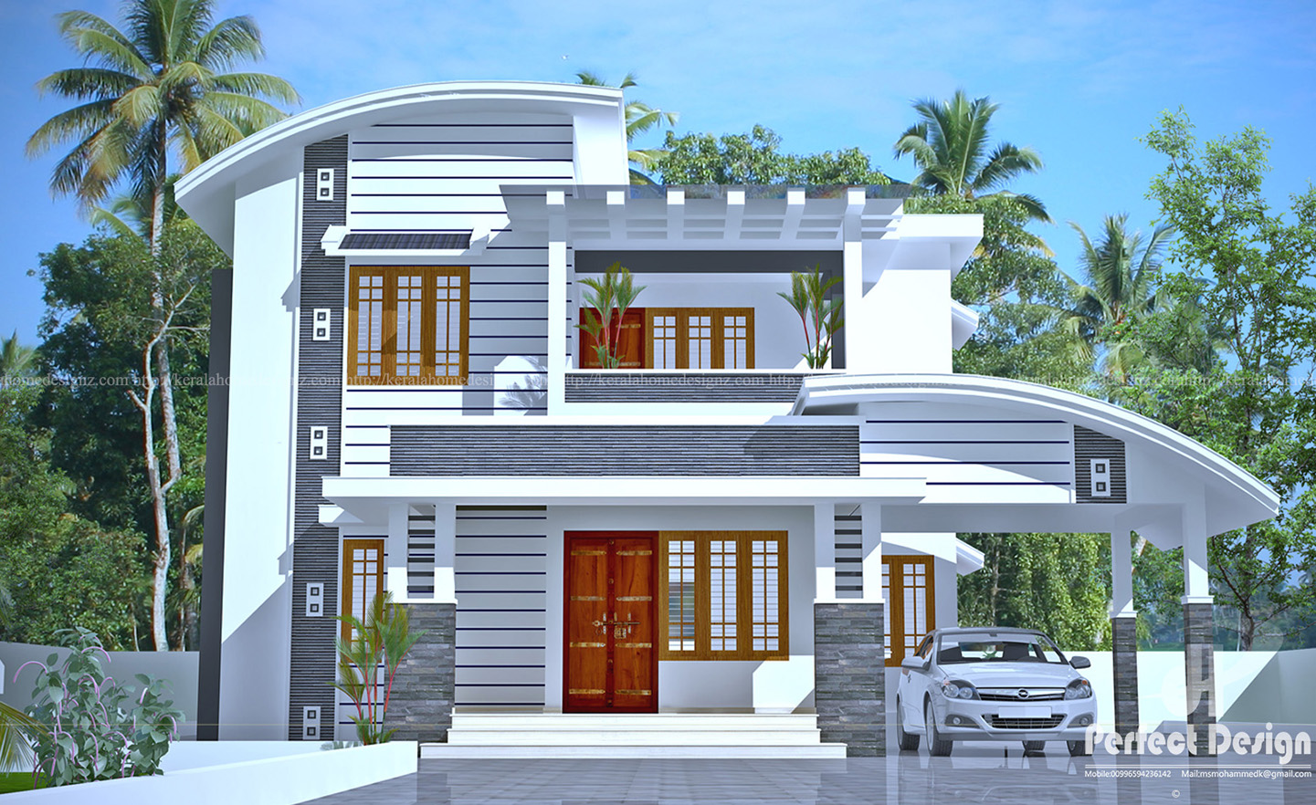 Beautiful double floor house in calicut kerala home design for Home design double floor
