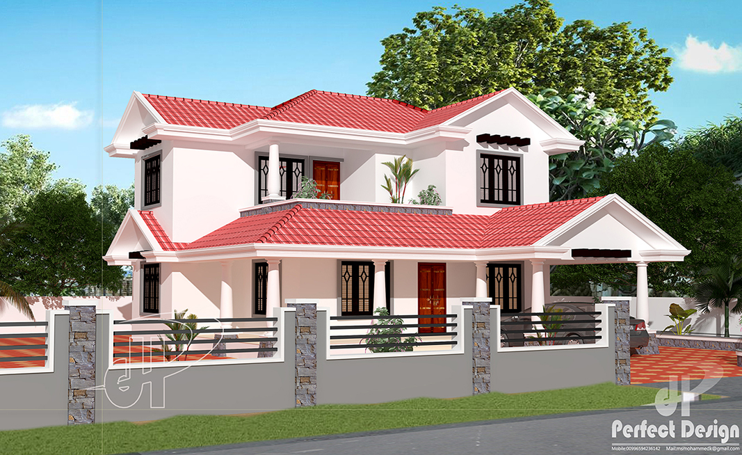 Traditional Slopped Roof House Kerala Home Design