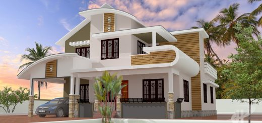4bhk bedroom mixed roof home design - Khd Home Design
